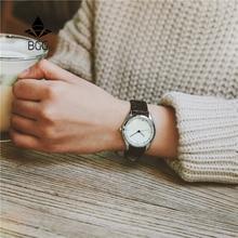 Rétro petit cadran mince ceinture femmes montres BGG Délicat casual simple femme Horloge Noir Brun En Cuir Quartz montre Femme Heures