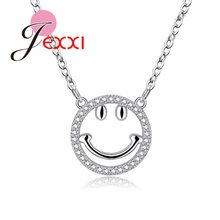925 Sterling Silver Jewelry For Women Smile Face Shape Pendant Necklace Bracelet Bangles Stud Earrings Micro Pave Clear Crystal(China)