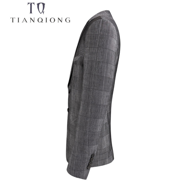 TIAN QIONG 2018 New Spring Fashion Blazer Mens Casual Jacket Grey Plaid Men Blazer Jacket Men Classic Mens Suit Jackets Coats