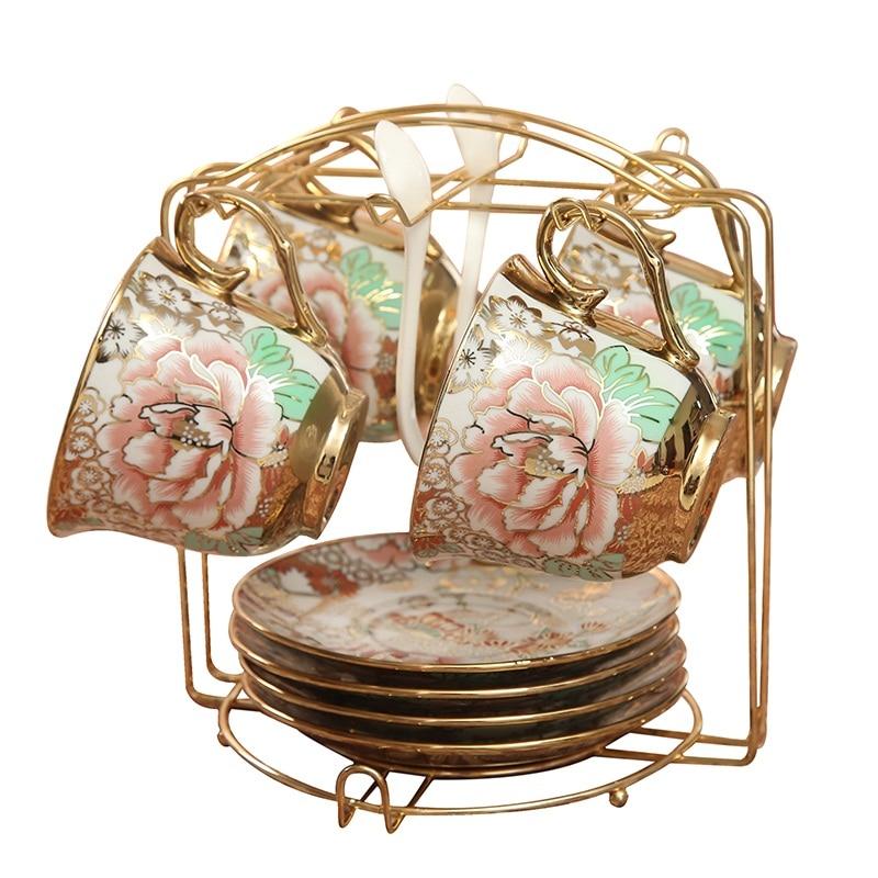Ensemble de tasse à café rustique de style anglais cadeaux de mariage ensemble de thé café mode après-midi thé théière tasses en céramique magnifique dressing