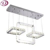 Youlaike Modern LED Chandelier Lighting For Dinging Room Hanging Square Crystal Light Fixtures Kitchen Island Cristal
