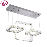 Youlaike Modern LED Chandelier Lighting For Dinging Room Hanging Square Crystal Light Fixtures Kitchen Island Cristal
