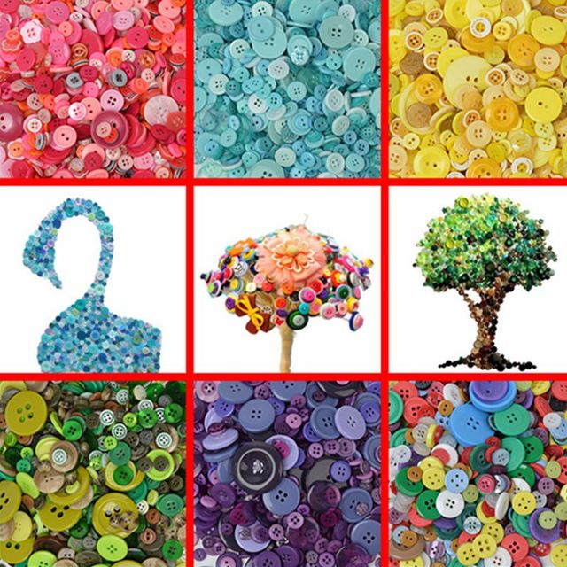 US $13 19 |600pcs/Lot Mix Size DIY Round Resin Buttons Sewing Button Bulk  Button Scrapbooking Sewing Craft DIY Tools QDD9096-in Buttons from Home &