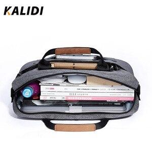 Image 2 - KALIDI wodoodporna torba na ramię 13.3 14 15.6 17.3 cala teczka torba biznesowa mężczyźni kobiety torba płótno Vintage torebka