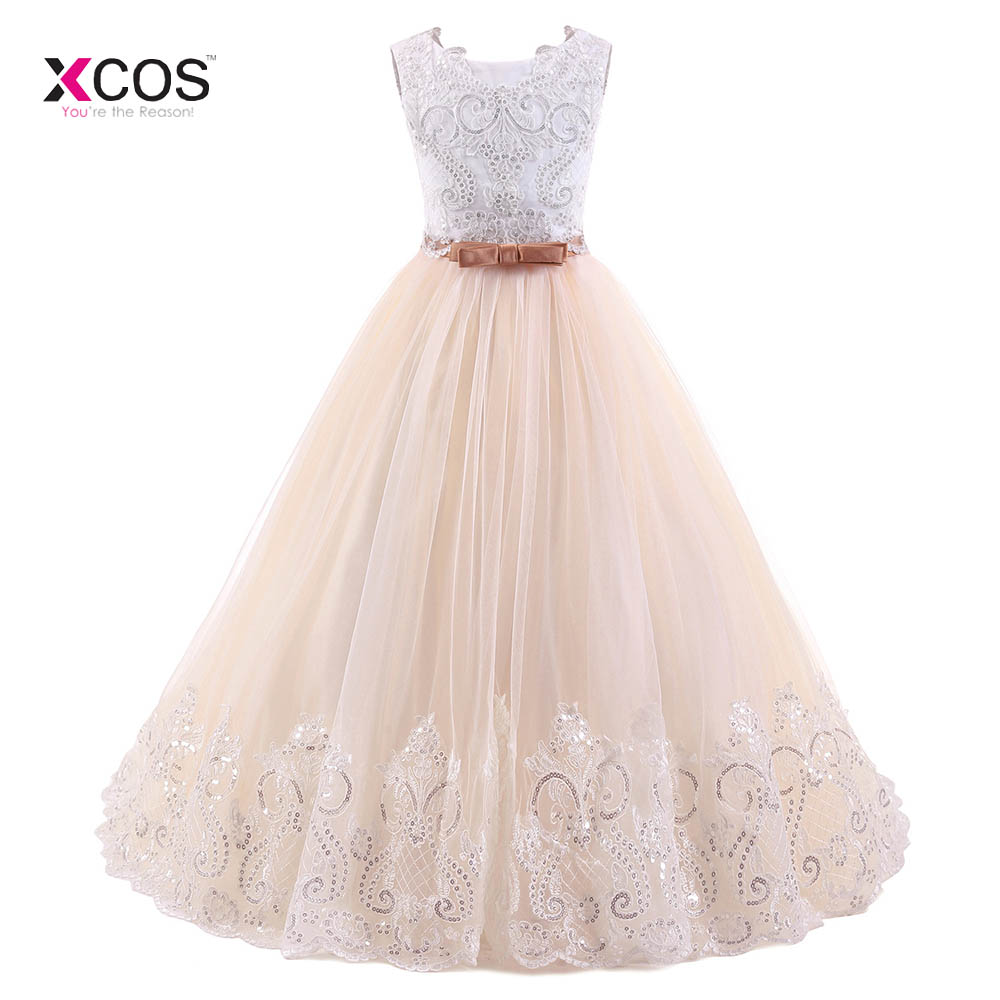 Princess Ball Gown   Flower     Girl     Dresses   For Weddings White Top Blush Pink Tulle Sequined Appliqued Lace Bow   Girls   Pageant   Dresses