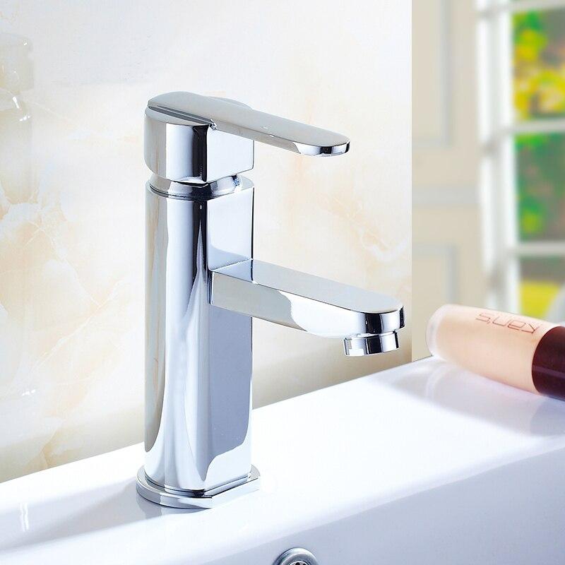 Mitigeur de robinet de lavabo de salle de bains monotrou, robinet de bassin d'eau chaude et froide en cuivre, robinet de lavabo en laiton chromé