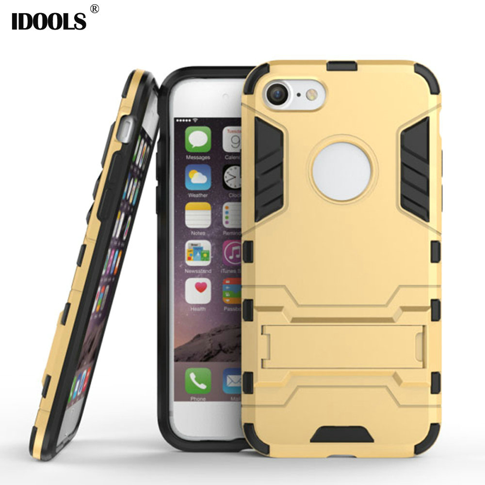 For iPhone 7 Case 2 in 1 Plastic Silicon Kickstand Anti Knock Back Cover Cases for iPhone 7 Mobile Phone Accessories Bags IDOOLS