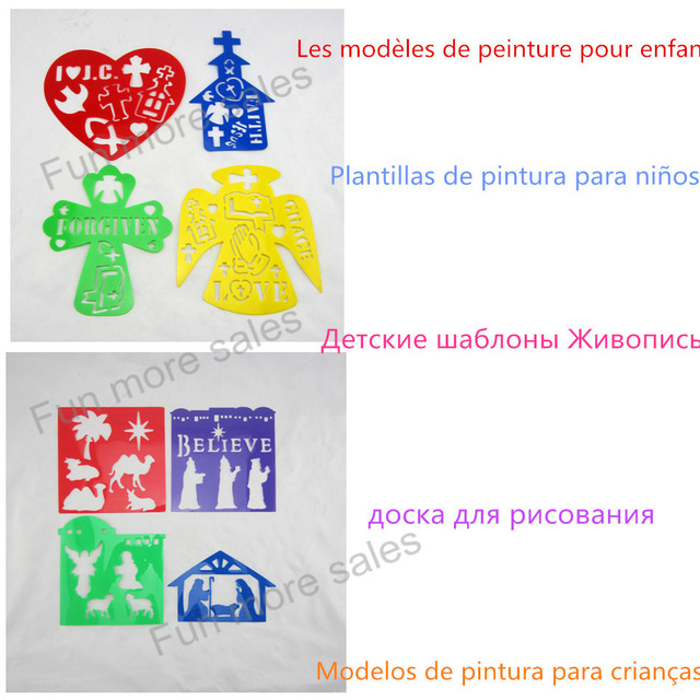 8designsset religious stencils diy kids drawing templates plastic painting boards baby children hot educational