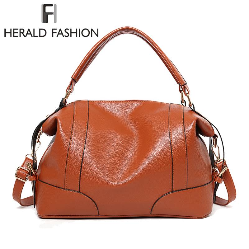 Herald Fashion Soft Leather Handbags Large Capacity Women Totes Zipper Female Shoulder Bag Office Ladies Hobos Bag Crossbody Bag