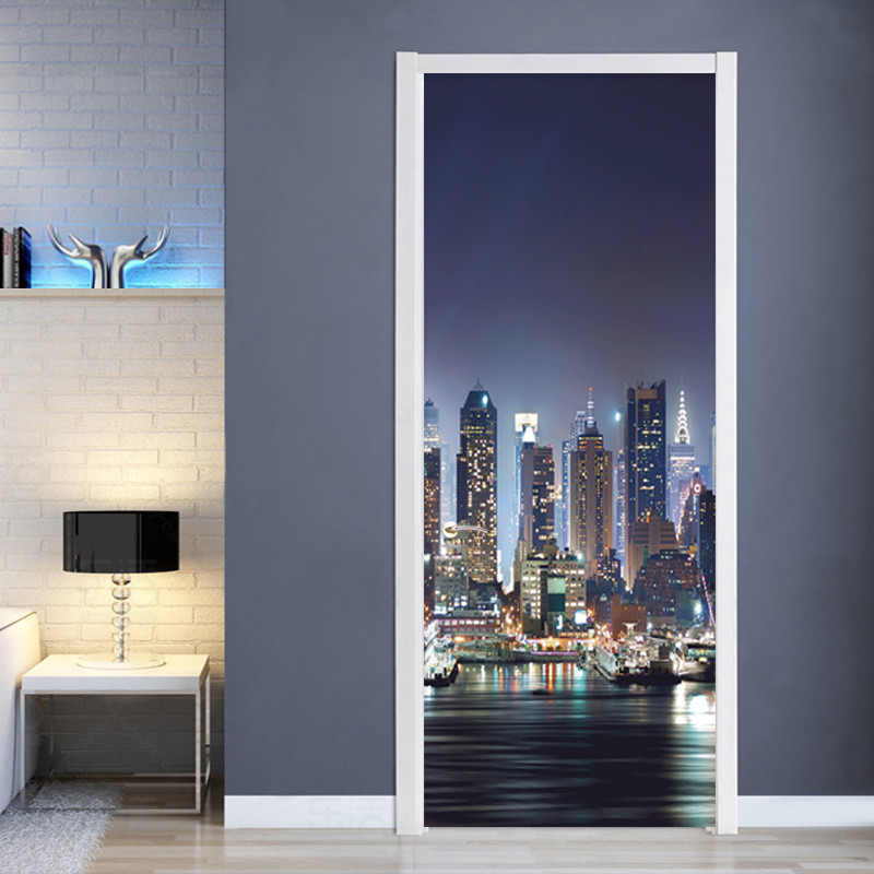 2 Pieces/Set Creative DIY 3D Door Stickers City Building Wall Paper Living Room Bedroom Home Decor Paste PVC Wall Sticker Poster