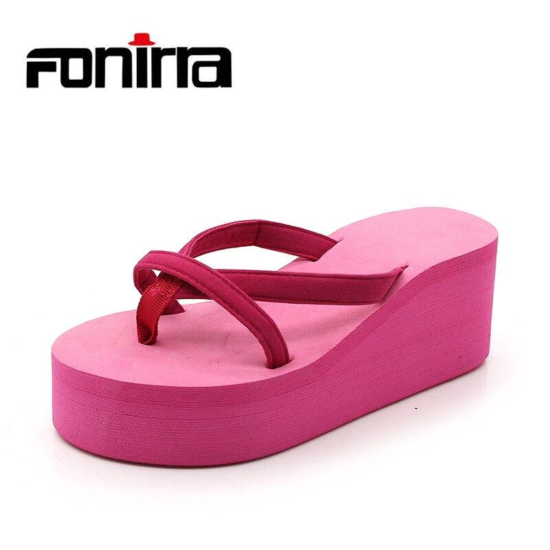 2018 Summer Women Platform Sandals Shoes Wedge Flip Flops Women Slipper Shoes High Heel Casual Beach Slippers FONIRRA 822