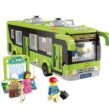418PCS City Bus Station Building Blocks Educational Bricks Action & Toy Figures Kids Toys Compatible With Lepining