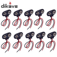 5pcs 9V Battery Snap-on Connector Clip with Wire Holder Cable Leads Cord Free Shipping