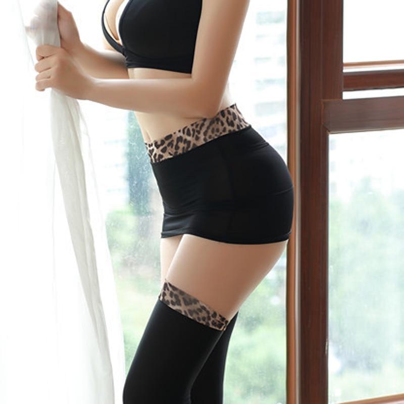 Sexy Women Ice Silk Leopard Micro Mini Skirt Tight Pencil Skirts Transparent Skirt Night Club Sexy Skirt Fantasy Erotic Wear F6