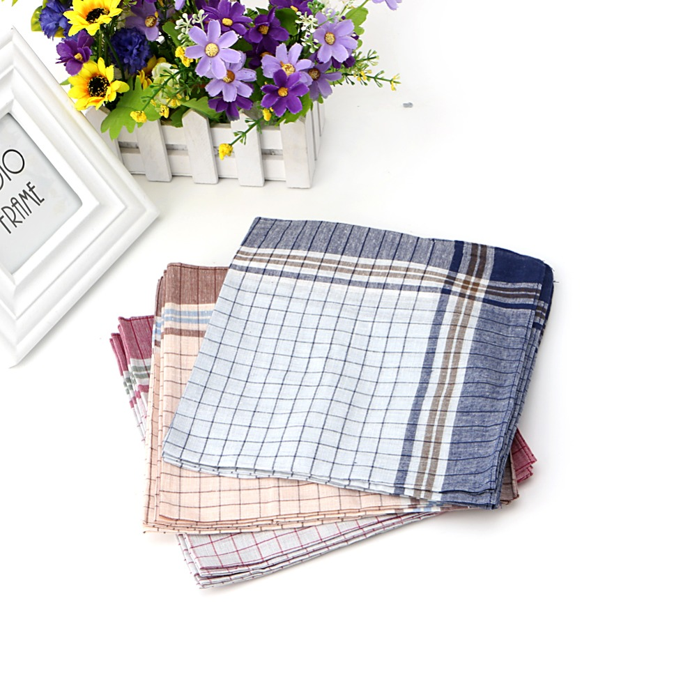 15pcs Mens 100% Cotton Plaid Pocket Square Hanky Handkerchief 40x40cm