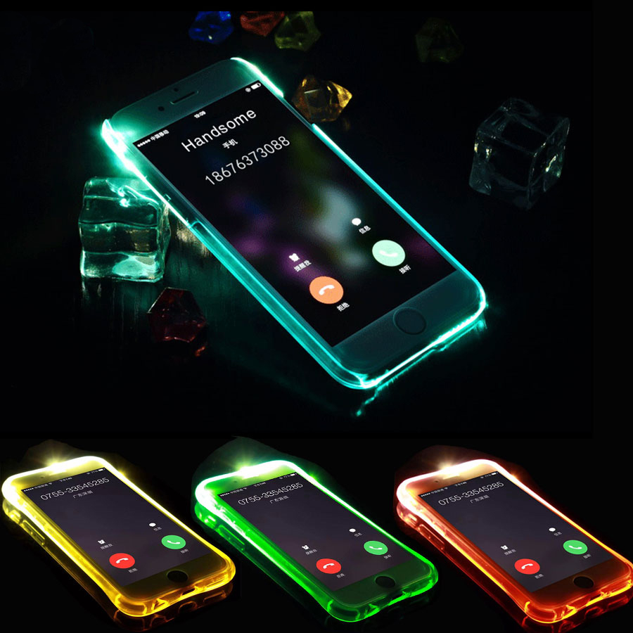 timeless design 87b65 0a700 LED Flash Light Up Remind Incoming Call Case For iPhone X 5 5S SE 6 6S 7 8  Plus Cover Anti-Knock Soft TPU Phone Back Cases Funda