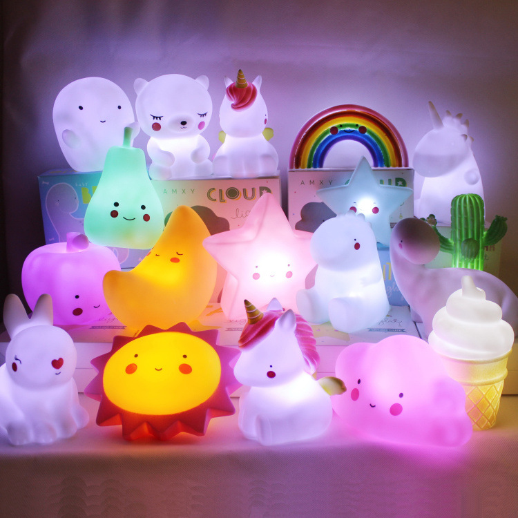 Firya Ins Cute Sun Moon Stars Unicorn Night Light Children Luminous Toy Bedroom LED Lights Flamingo Luminary Christmas Gifts