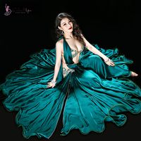 High grade Belly Dance Costume Set Women Maxi Dancing Skirts Professional Outfit 4pcs Bra+Skirt+Underpant+Belt Outfit