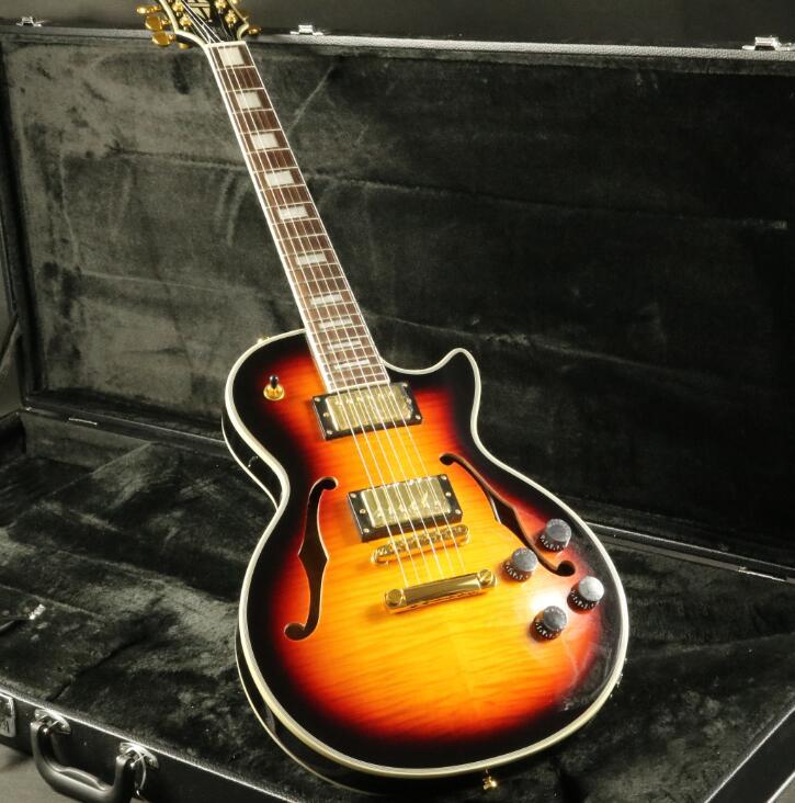 Stock Top qualité guitare électrique personnalisée Double trou F or matériel figuré érable Top placage et retour Grover Tuner