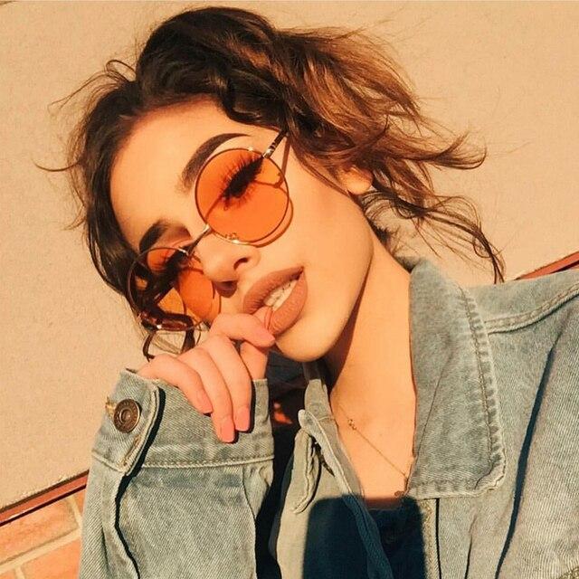 5df6be638ad26c GUVIVI Mode Nouveau 2018 lunettes de Soleil Rondes Femmes En Métal de Cru  Cadre Rose Jaune