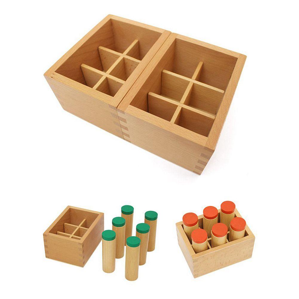 LCLL-En Bois Montessori Sensorielle Auditif Matériel Container Titulaire Son Cylindre