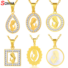 SONYA Trendy Virgin Mary Pendant & Necklace for Women 316L Stainless Steel Gold color Praying Hands Necklaces Jewelry Bijoux