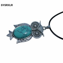 Free Shipping Fashion Delicate Cute Natural stone Owl Small Pendant Chain Necklace Women's Trendy Sweater Decoration Accessory trendy ancient silver owl pendant sweater chain necklace for women