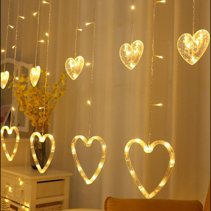 124 Leds Heart Curtain String Light EU/UK Plug Living Room Decoration Fairy Light Wedding Deco 2.5M Festoon Curtain Garland SL78124 Leds Heart Curtain String Light EU/UK Plug Living Room Decoration Fairy Light Wedding Deco 2.5M Festoon Curtain Garland SL78