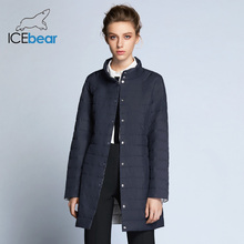 ICEbear 2018 Single Breasted Side Pockets With Closed Zipper Autumn Jacket Women Coat Cotton Padded Slim