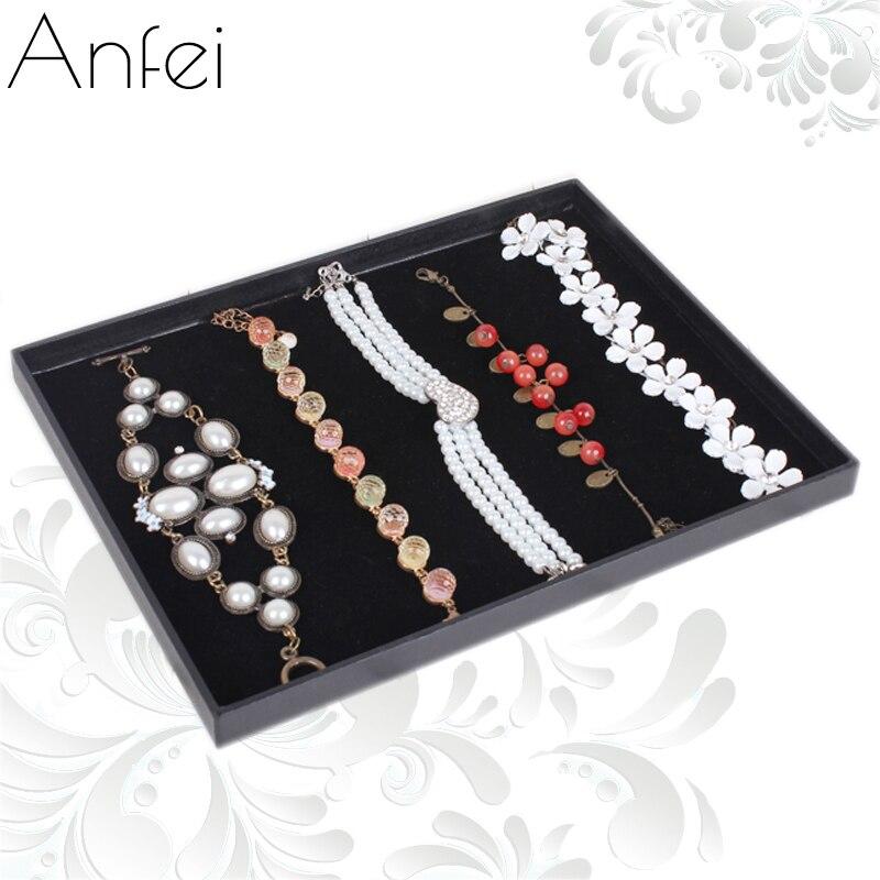 Black Leather 20 Bracelet Necklace Jewellery Display Box Tray Case Stand Storage