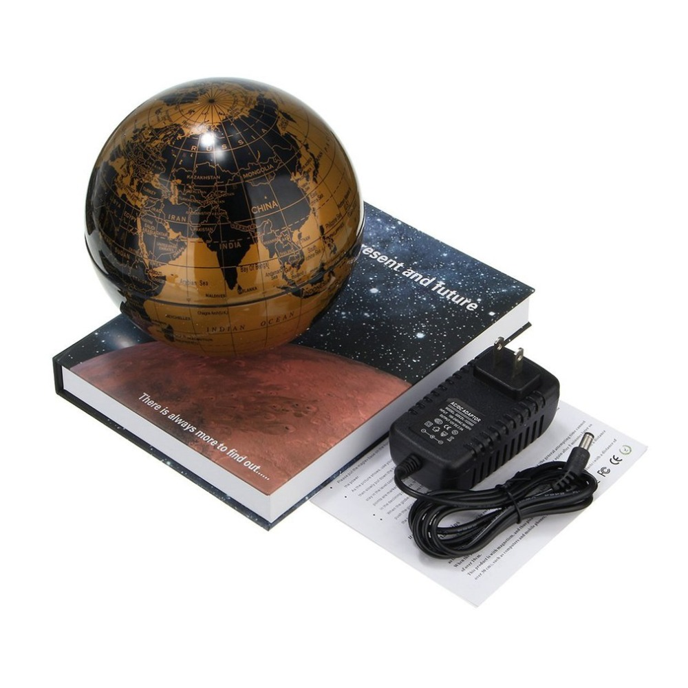 6 Magnetic Rotating Globe Gold Color Anti-Gravity Floating Levitating Earth 360-degree Rotating For Desktop Office Home Decor