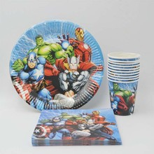 40p/set Avengers Birthday Party Supplies Plate Cup Napkin Favor Superhero Decoration Baby Shower Tableware