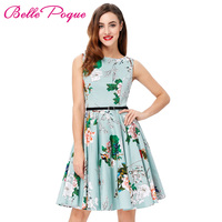 Women Dress Summer Casual Office Gowns Vintage 50s Rockabilly Cotton Floral Print Dots With Belt Swing Dresses Vestidos Retro
