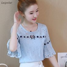 2018 New Women Fashion Hollow Out Floral Lace Blouse Plus Size Clothing Flare Short Sleeve Chiffon Shirt Casual Loose Blue Top все цены