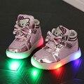 Las niñas de moda zapatillas de deporte 2016 primavera marca Led Kids Girls Princess zapatos zapatillas zapatos de los niños con luz tamaño 21-30