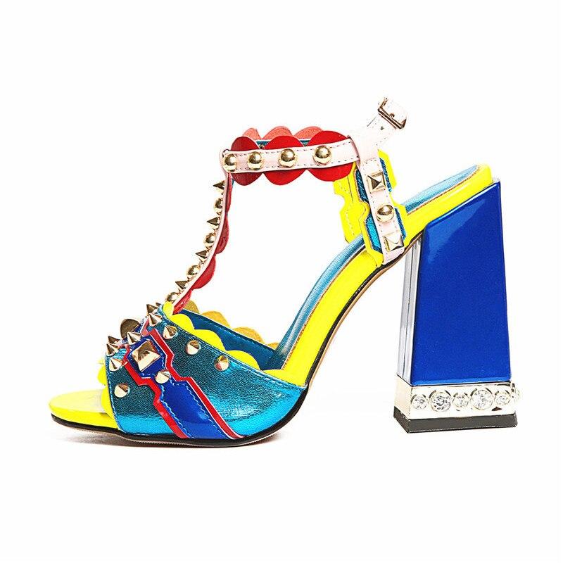 Prova Perfetto 2019 A Spillo Rivetti Perlato Tacchi Alti Sandali di Estate Scarpe Donna Sandali Gladiatore Delle Donne Pompe Sapatos Mujer-in Tacchi alti da Scarpe su  Gruppo 3