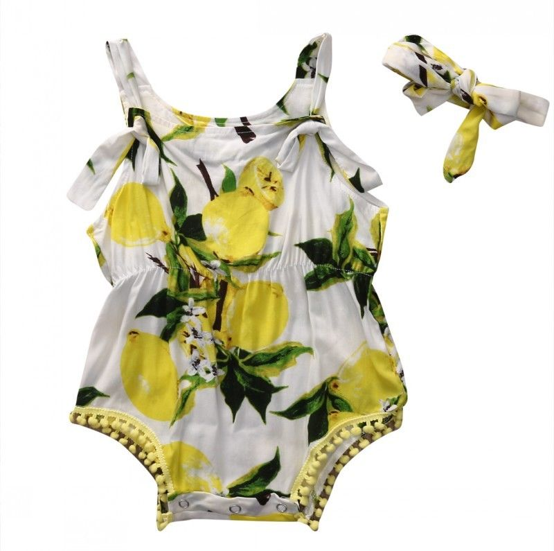 2Pcs Set Newborn Baby Girl Romper Summer Sleeveless Backless Halter Jumpsuit Sunsuit lemon Bebes Outfits Clothes With Headband summer newborn infant baby girl romper short sleeve floral romper jumpsuit outfits sunsuit clothes