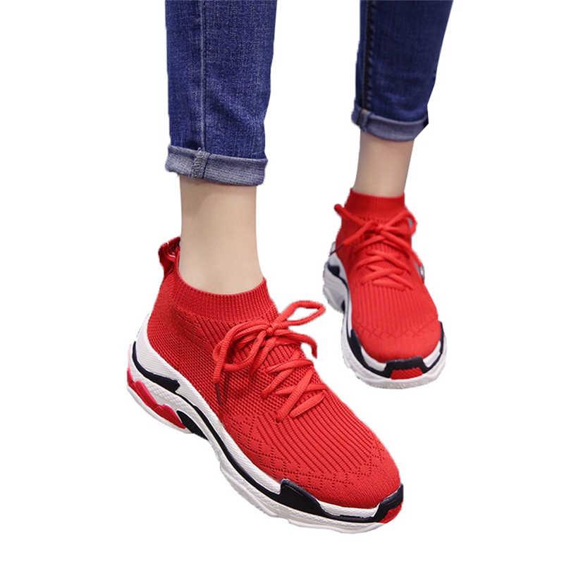 New Nền Tảng Thời Trang Phụ Nữ của Sneaker Căng Dệt Thoáng Khí Giản Dị Dày Vớ Đáy Giày Phụ Nữ Sneaker Giày Feminino 2018
