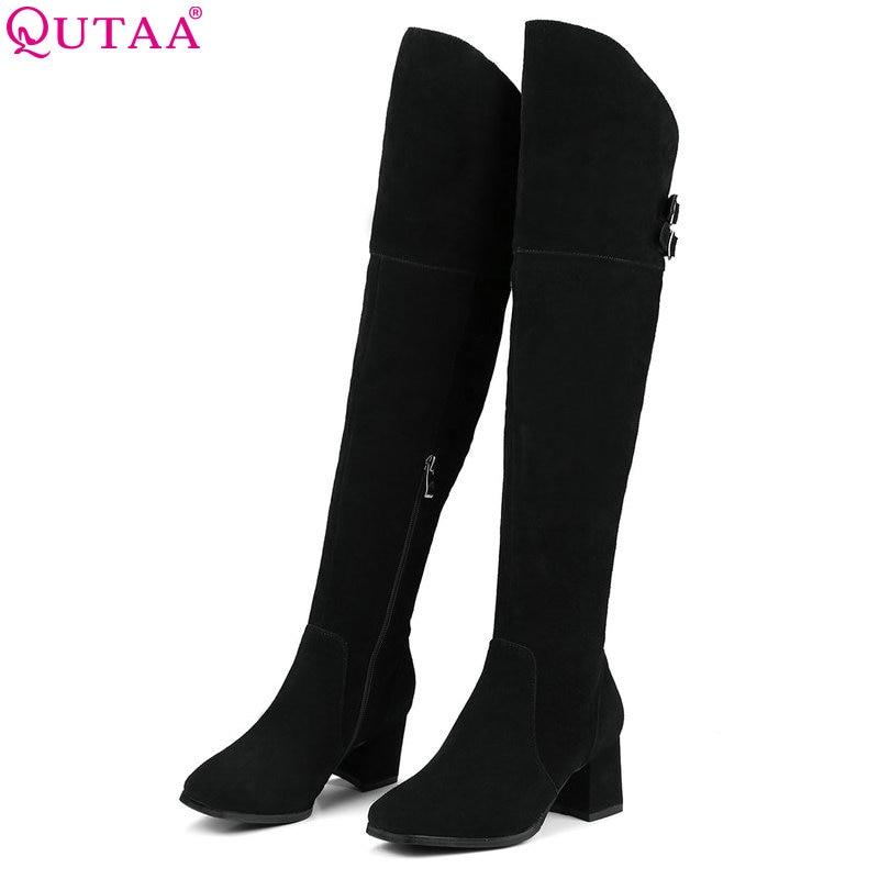цена на QUTAA 2018 Women Over Knee High Boots Cow Suede Square High Heel Square Toe Zipper Fashionwestrn Style Women Boots Size 34-39