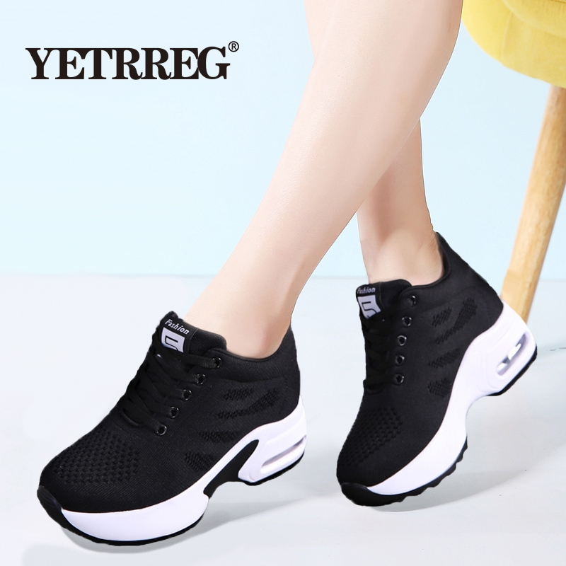 New Autumn Women's Fashion Thick bottom shoes Comfortable Platform Sneakers Women's Lightweight Breathable Lace-up casual shoes
