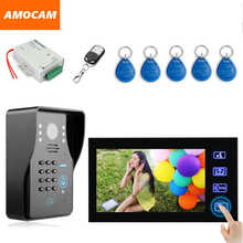 7″ Touch Monitor Video Doorbell doorphone Kit RFID Card Keyfobs Password Remote Unlock Wired Video Door Phone Intercom System