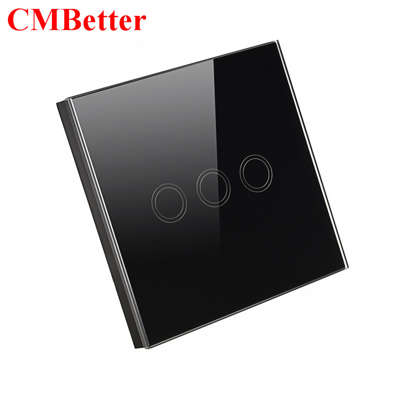 CMBetter EU Standard Wall Switch Glass Panel Touch Switch 3 Gang 1 Way Light Switch Waterproof Home Luxury Switch smart home us au wall touch switch white crystal glass panel 1 gang 1 way power light wall touch switch used for led waterproof
