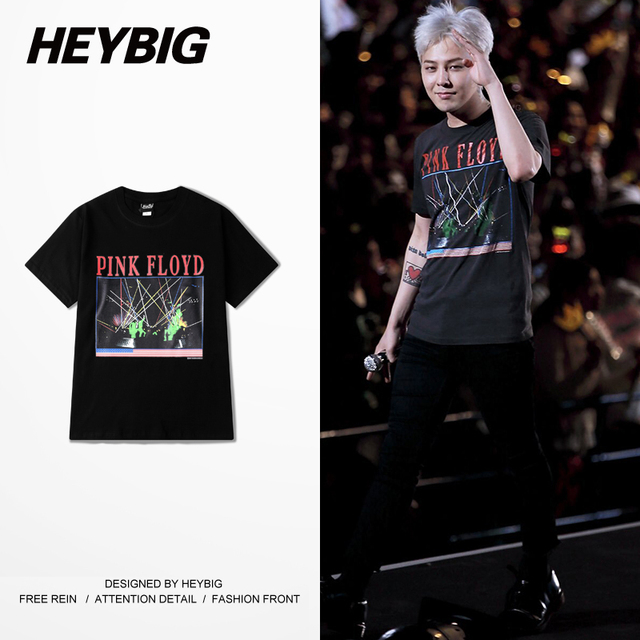 Korean Pop GD concert Tee Hip hop shirts Men Punk rock T-shirt Pink Floyd European Hot Tops Round Neck Clothing Chinese SIZE