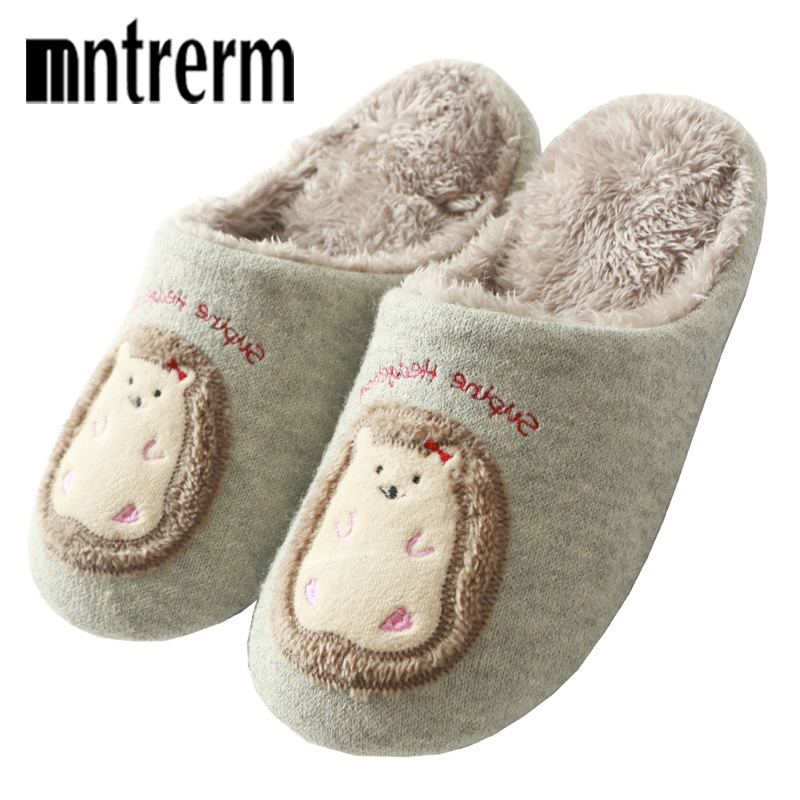 Mntrerm Indoor House Slipper Soft Plush Cotton Animal Slippers Shoes Non-Slip Floor Home Furry Slippers Women Shoes For Bedroom lcizrong women brown bear plush home slippers non slip large size family animal slipper woman indoor shoes house slippers