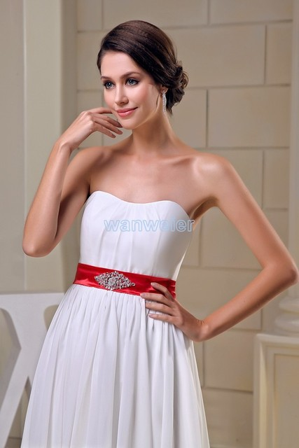 free shipping modest 2016 design hot sale red belt beading cheap tube top  custom size plus size gown long white Bridesmaid Dress be477df1bf9a