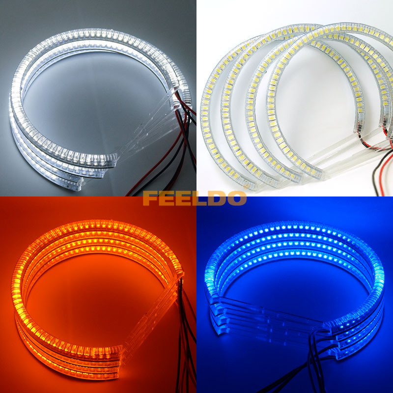 2sets New White/Yellow/Blue 60SMD-3528 LED ANGEL EYES HALO RINGS For E90 3 Series #J-4754 super bright red blue yellow white 3528 smd led angel eyes halo rings car styling for kia borrego mohave 2008 2009 2010