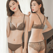 Fashion black underwear ladies bra suit push high cotton thick section deep V sexy lace set embroidery