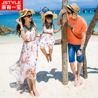 2016 Matching Father Mother Baby Clothing Daughter Mother Chiffe Maxi Dress Mother Son Outfit Ma E