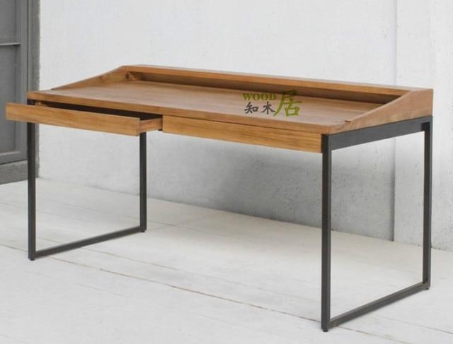 American Loft Retro Furniture Wrought Iron Wood Desk Computer Board Tables