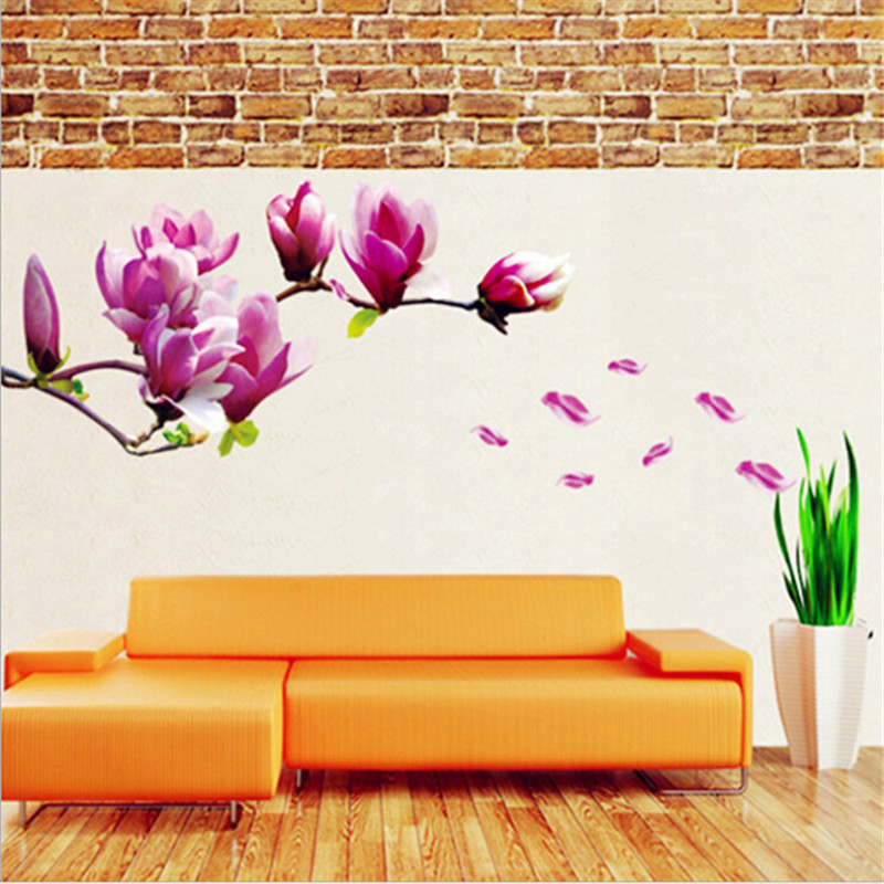 70*50Cm Magnolia Flower Blossoms Sticker Wall Sticker Creative